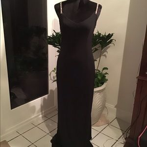 Black gown with rhinestones straps
